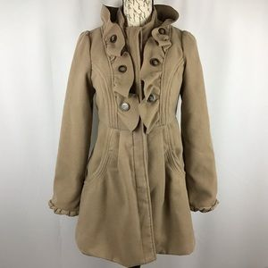 Jolt camel pea coat with ruffles